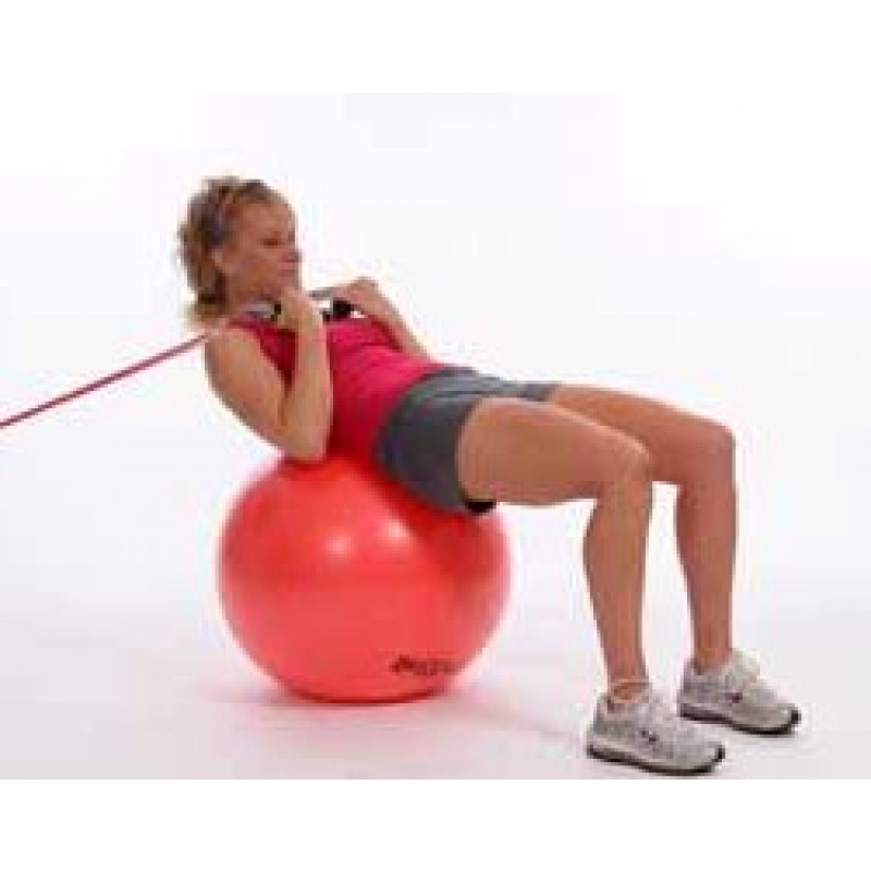 Thera-Band Tubing Abdominal crunch on Exercise Ball