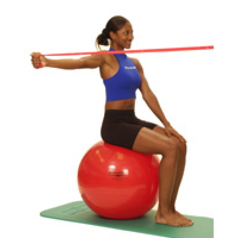 Thera-Band Shoulder Horizontal Abduction-unilateral (sitting on ball)