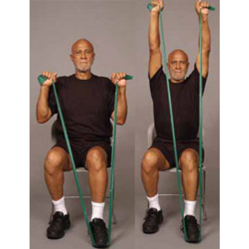 Thera-Band Shoulder Overhead Press in Sitting