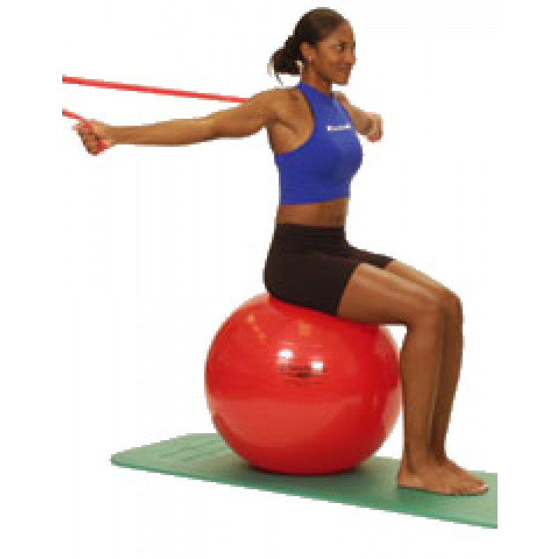 Thera-Band Shoulder Chest Flies (sitting on ball)