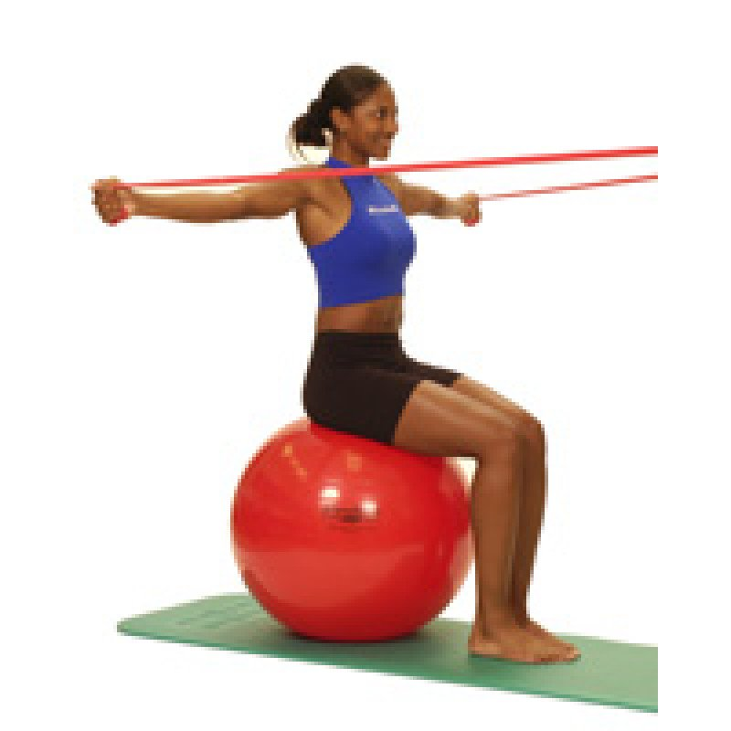 Thera-Band Shoulder Horizontal Abduction-bilateral (sitting on ball)