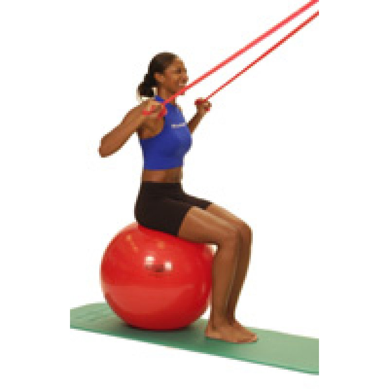 Thera-Band Shoulder Lat Pull Down (sitting on ball)