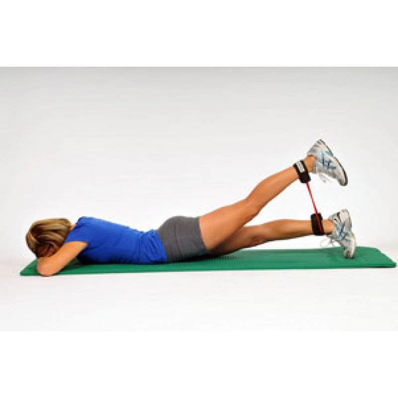 Thera-Band Tubing with Cuffs Prone Hip Extension