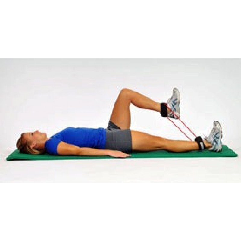 Thera-Band Tubing with Cuffs Supine Hip Lift