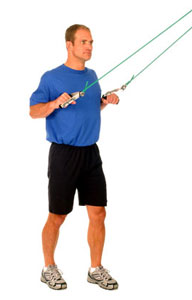theraband shoulder lat pull down standing  performance