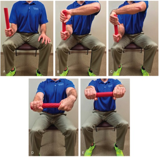 Tyler Twist for Tennis Elbow using the TheraBand Flexbar Photo Courtesy of